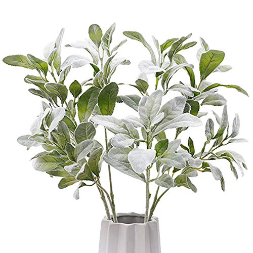 Meiliy Lambs Ear Picks Leaf Spary Large Artificial Greenery Stems Branches Decor Leaves Bouquet 3 PCS for DIY Arrangement Indoor ()