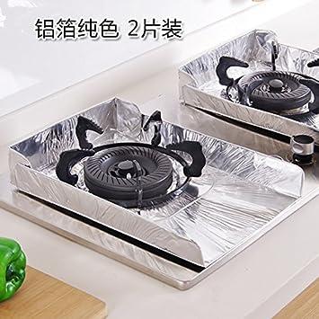 UWSZZ - El aceite de cocina estufa de gas mat 2 piezas de lámina de aluminio