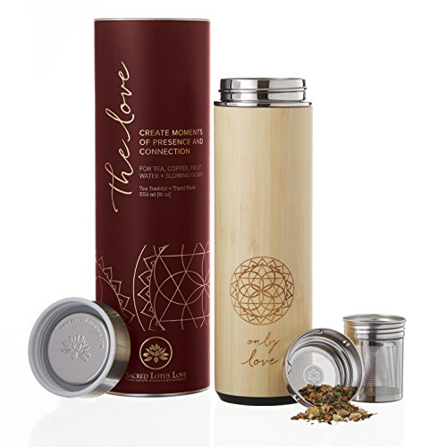The NEW Love Bamboo 18oz Travel Tumbler Thermos Mug for Loose Leaf Tea, Coffee, or Fruit Water with Stainless Steel Strainer and Infuser Basket. Vacuum Sealed. Beautifully Packaged, Poem + Gift Card.