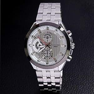 Longbo 8650 hombres con estilo de la banda de acero inoxidable de cuarzo analógico reloj de pulsera , Color Plata