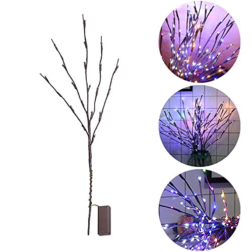 IDABAY 20 Led Branch Lights Multi-Color Battery Powered Decorative Fairy Lights Vine-Shaped Tall Vase Filler Willow Twig Lighted Branch for Home Decoration Indoor Outdoor Christmas Wedding Party. ()