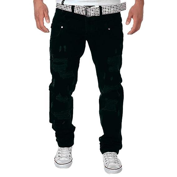 Cebbay Pantalones Vaqueros Rotos Hombre Pantalones Largos de ...