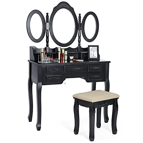 SONGMICS Vanity Set Tri-folding Mirror Make-up Dressing Table Padded Stool with 7 Drawers 2 Dividers