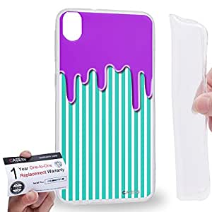 Case88 [HTC Desire 820] Gel TPU Carcasa/Funda & Tarjeta de garantía - Art Fashion Melting Verticle Stripe Pattern Art1235