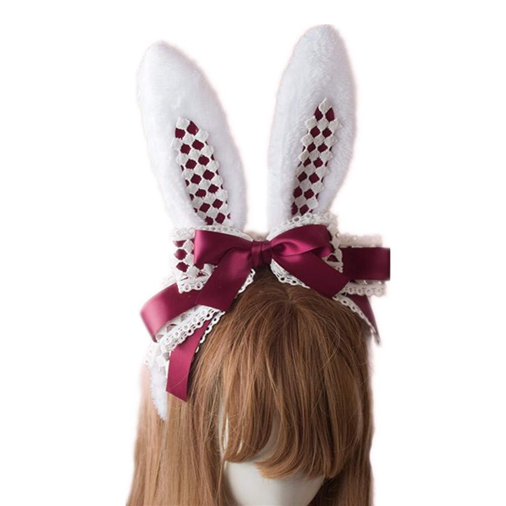 Women Lady Wire adjustable bunny Rabbit ears Bow Hair band headband costume Prop