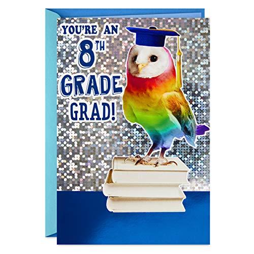 Hallmark 8th Grade Graduation Card (Rainbow Owl, Bright One) -