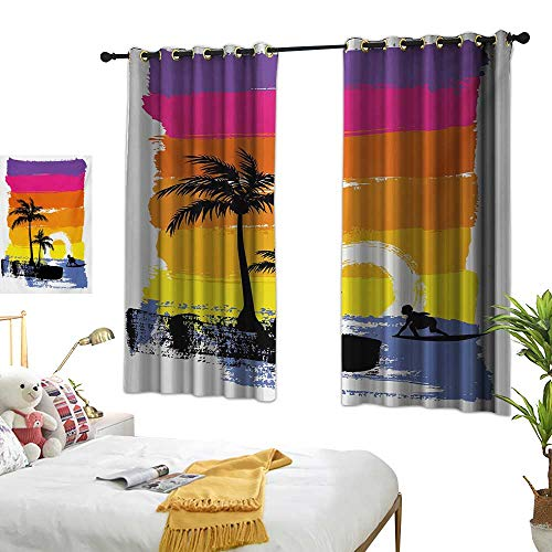 (Luckyee Thermal Insulating Blackout Curtain,Ride The Wave,63