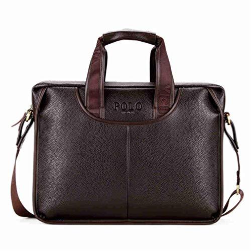Promotion Famous Brand Handbag PU Leather Men Tote Bag Borse Classic Sewing Thread Design Men Sling Bag Brown (Brown Strap Tamrac)