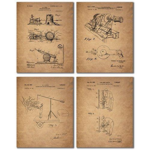 Lumberjack Patent Print Photos - Set of Four 8x10 Vintage...
