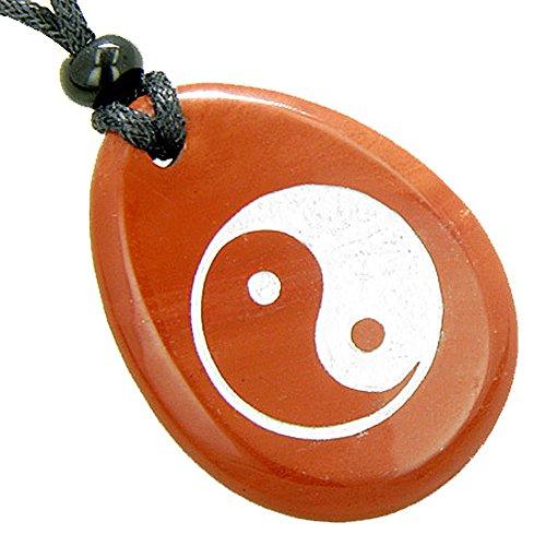 Lucky Ying Yang Balance Amulet Red Jasper Word Stone Pendant Necklace