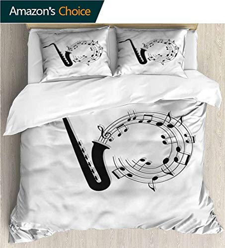 Kids Quilt 3 Piece Bedding Set,Box Stitched,Soft,Breathable,Hypoallergenic,Fade Resistant Bedding Sets,1 Duvet Cover,2 Pillowcase-Saxophone Melody Coming Out Funky (87