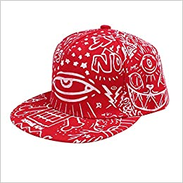 855475ad607 Sannysis Fashion Vintage Baseball Flat Bill Hat Hippie Eye Hiphop  Adjustable Cap (Red) Apparel