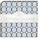 SwaddleDesigns Ultimate Swaddle Blanket, Made in USA, Premium Cotton Flannel, Brown Mod Circles on Pastel Blue