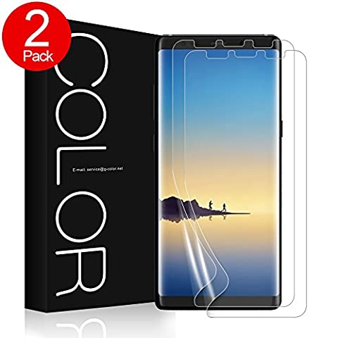 Galaxy Note 8 Screen Protector, G-Color Wet Applied Case Friendly Screen Protector for Galaxy Note8 (2-Pack, Not Glass Film) Scratch Proof, Ultra Clear (V3 Watch Phone)