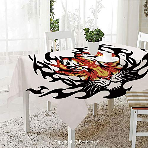 (BeeMeng Spring and Easter Dinner Tablecloth,Kitchen Table Decoration,Tattoo Decor,Jungles Prince Tigers Head in Black Flames Frame Looking with Cat Eyes,Black and Orange,59 x 83)