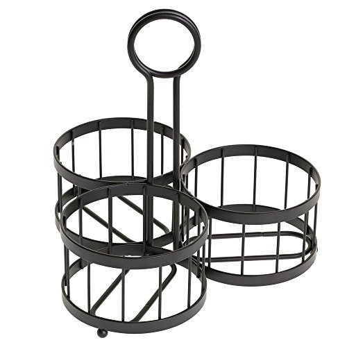 TableCraft Meranda Collection Mason Jar Cutlery Holder Set, Includes: (4) 22 oz Glass Jars and Black Powder Coated Rack (Cutlery not included) ()