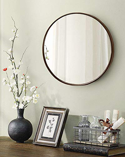 TinyTimes 19.69 Clean Wall Mirror, Round Vanity Mirror, Dresser Mirror, Wooden Frame, for Entryways, Living Rooms, Bathroom, Home Mirrors Decor -Dark Brown