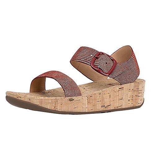 FitFlop Women's Bon Backstrap Wedge Sandal,Spice Lizard Print Suede/Cork,US 7 M Bon Bon 3 Sandal