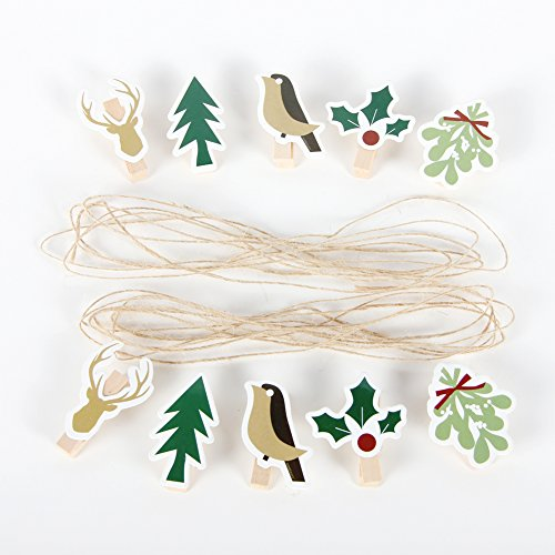 Wooden Clips picture card hanger Garland Burlap Bunting Banner Xmas Holiday Party Props Fireplace Decorations ()