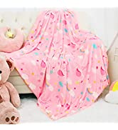 Homore Fluffy Kids Throw Blanket, Soft Flannel Flamingo Print Blankets for Girls Nursery Todder, ...