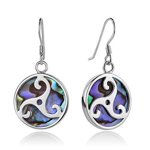 Sterling Silver Triskele Triskelion Celtic Symbol Green Abalone Shell Dangle Hook Earrings 1.3
