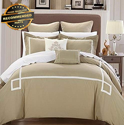 (Gatton Premium New Woodford 7-Piece Embroidered Comforter Set, Queen, Taupe | Style Collection Comforter-311012357)