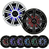 "2- Pair (4-Speakers) With Multi Color LED Lights Kicker 6.5"" 195W Marine Audio Coaxial Stereo, Charcoal Grills"