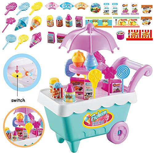ELitao 19 PCS Ice Cream Candy Trolley Cart with Music Pretend Food Play Toy for Baby Kids Girls -