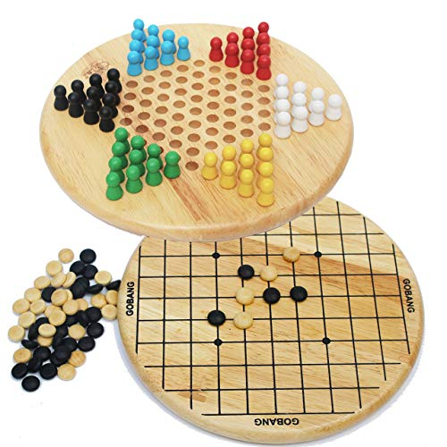 Toys of Wood Oxford Wooden Chinese Checkers and Gobang (Five in a Row) 2 in 1 Board Game-Family Board Games for Kids and Adults (Wood Chinese Board Checkers)