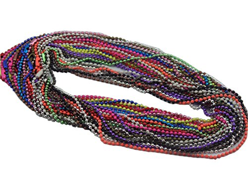20pcs Mixed Colors 28''/70cm Ball Chain Necklace 2.4mm Beads--more than 15 Colors (Blue Dog Beads)