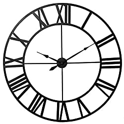 Jeteven 31.5'' Large Decorative Wall Clock Battery Operated Retro European Style Iron Art Vintage Hollow Wall Clock for Living Room Bedroom Kitchen Decor