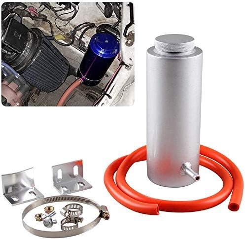 RASNONE Universal car Radiator Coolant Tank 800ml Coolant Expansion Tank Overflow Oil Catch Tank Cooling Catch Bottle Reservoir Aluminum Billet Silver