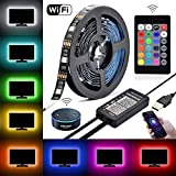 LEDWi-Fi AlexaTVBacklightKit,5VDC 6.56FtMulti-Color RGBFlexible LEDStrip Lights + USB Wi-Fi IR 24keys Remote Controller ForTV/PC/LCD/Desktop Monitors BackgroundLighting,Reduce Eye Strain