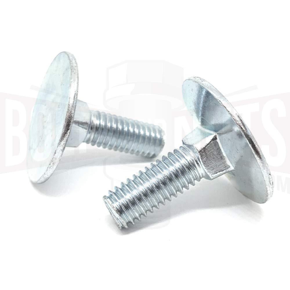 Carriage Bolts A307 Steel Square Neck Part Thread Zinc 60 pcs 3//8-16 X 12 Round Head