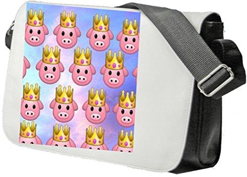 Schultertasche Schweinchen mit Krone und Glücklichem Gesicht Süß Schultasche, Sidebag, Handtasche, Sporttasche, Fitness, Rucksack, Emoji, Smiley