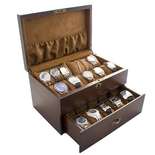 Vintage Wood Watch Display Storage Case Chest With Solid Top Holds 20+ Watches With Adjustable Soft Pillows and High Clearance for Larger Watches
