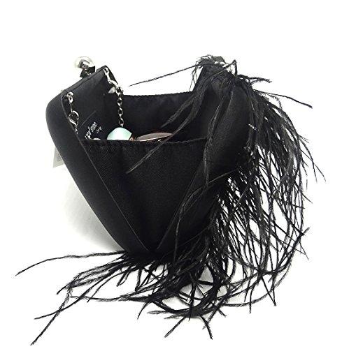 Bag Bag Party ZAKIA Evening Clutch Natural Fur Purse Crystal Shoulder Black Women's Ostrich qxxPwSgfz