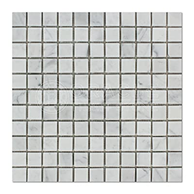 Carrara White Italian (Bianco Carrara) Marble 1 X 1 Mosaic Tile, Honed