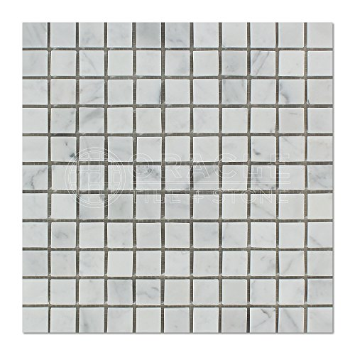Carrara White Italian (Bianco Carrara) Marble 1 X 1 Mosaic Tile, Honed (Bianco Flooring Mosaic Tile)