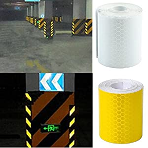 Buildent (TM) 3mX5cm Fluorescence Pure Yellow Reflective Car Truck Motorcycle Sticker Safety Warning Signs Conspicuity Tape Roll (White)