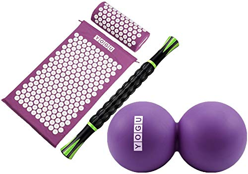 YOGU Acupressure Mat Pillow and Muscle Roller Massage Stick Set for Back and Neck Pain Relief and Muscle Relaxation Relieves Stress Back Neck and Sciatic Pain (Purple w Stick+Ball)