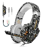 PS4 Gaming Headset with Microphone 3.5mm Stereo Noise Isolation Over Ear Headphones LED Lights