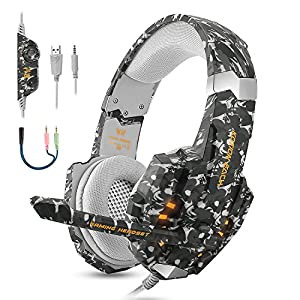 BGOOO Stereo Gaming Headset for PS4, PC, Xbox One,Professional 3.5mm Noise Isolation Over Ear Headphones with Mic, LED Light, Bass Surround, Soft Memory Earmuffs for Laptop Mac Nintendo (Camouflage)