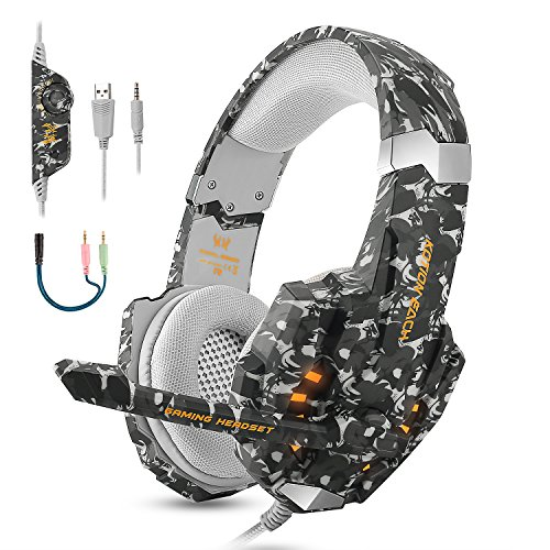 BGOOO Stereo Gaming Headset for PS4, PC, Xbox One,Professional 3.5mm Noise Isolation Over Ear Headphones with Mic, LED Light, Bass Surround, Soft Memory Earmuffs for Laptop Mac Nintendo -