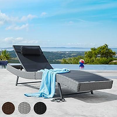 TecTake Tumbona chaise longue de poli ratán tumbona de jardín silla de terraza - disponible en diferentes colores - (Mixed marrón | no. 402056): Amazon.es: Jardín
