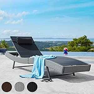TecTake Rattan day bed sun canopy lounger recliner garden furniture (Grey | no. 402055)