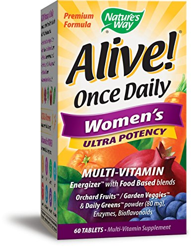 Nature's Way Alive! Once Daily Women's Multivitamin, Ultra Potency, Food-Based Blends (240mg per serving), 60 Tablets (Essentials 60 Tablets)
