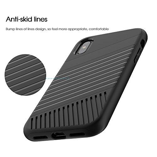 FindaGift Cubierta antideslizante antideslizante del teléfono cubierta de la caja Protector antichoque para iPhone X (gris) Black