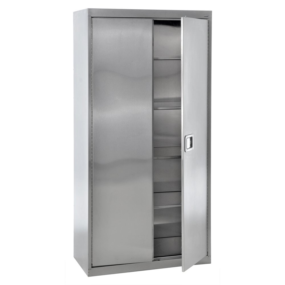 Sandusky Lee SA4D361872-XX 304 Stainless Steel Storage Cabinet with Paddle Lock, 72'' Height x 36'' Width x 18'' Depth