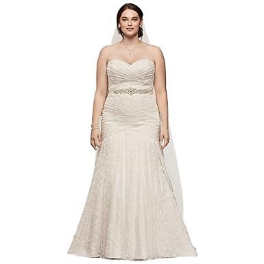 David\'s Bridal Allover Lace Mermaid Plus Size Wedding Dress Style ...